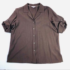 White Stag Brown Button Up Shirt Roll Tab Collared